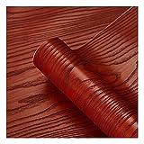 ZSFBIAO Papel Adhesivo Vinilos Decorativos Rollo Papel Adhesivo Papel Adhesivo para Muebles para Armario de Cocina Papel Decorativo (Size: 30cm*5m,Color:Red Sandalwood)