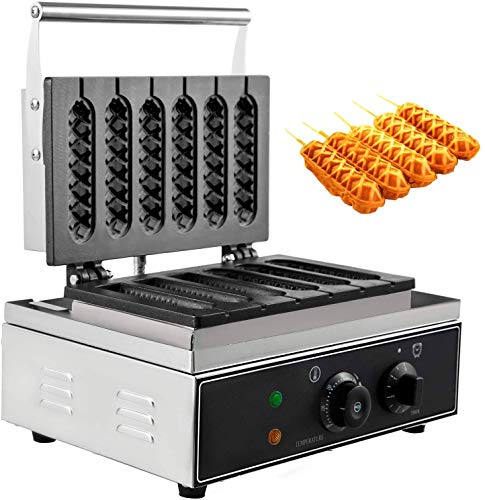 """VBENLEM 110V Commercial Lolly Waffles Makers 6pcs 1500W Stainless Steel Non-Stick Teflon Coating 0-5 Minutes Timer 0-300℃ Temp for Snack Bar Family, 15""""x10.6""""x9.3"""", Sliver"""