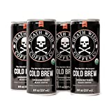 Death Wish Coffee, Cold Brew Cans, The World's Strongest Coffee, Organic Iced Coffee Drink - 8 Ounces - 300 mg of caffeine - 4 Pack (Unsweetened Black)