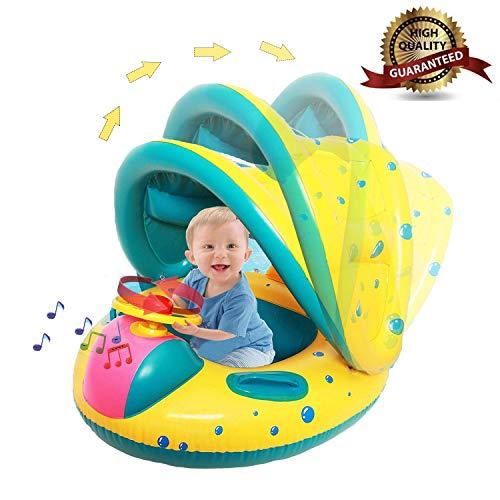 Sunshine smile Baby schwimmring mit sonnendach Aufblasbares Kinderboot Aufblasbarer Schwimmhilfe Baby Pool Schwimmring Aufblasbares Schwimmen Ring Schwimmsitz (B)