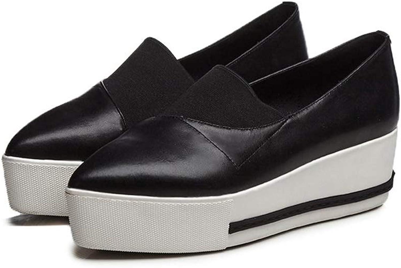 T -JULY Genuine läder Solid Point Toe Wedges skor skor skor för kvinnor Causal skor Retro Loafer Elastiska Vulcanized skor  Fri frakt på alla beställningar