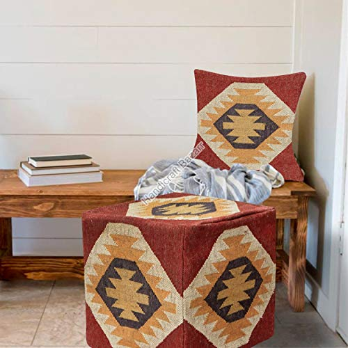 Handicraft Bazarr Funda de almohada otomana de lana Kilim, puf de yute, funda de cojín para niños, para estudio, puf