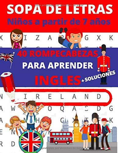 Sopa de letras : Niños a partir de 7 años: Libro de 40 rompecabezas para aprender inglés (sopa de letras inglés   1 tema por pagina)