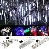 RZL LED Lights 20cm / 30cm / 50cm 8 Tubo de lluvia ligera de la secuencia Lluvia de meteoritos de la decoración del árbol, luz del partido de boda al aire libre de Navidad del jardín de cuerda con Plu