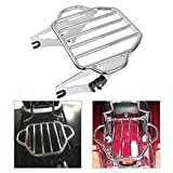 KOLEMO Chrome Detachable Adjustable Two Up Luggage Rack Mounting Fits For Touring Electra Glide Road King Street Glide Tour Pak 2009-2020