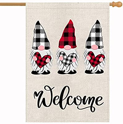 Holiday Valentines Garden House Gnomes Buffalo Plaid Burlap Flag Vertical Outdoor Decorations -Double Sided Love Welcome Home Decor 28 x 40 Inch