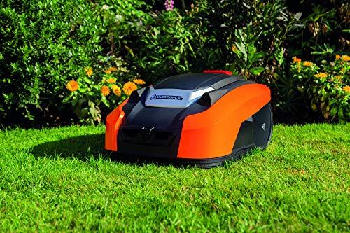 Yard Force YardForce X100i Mähroboter mit App-Steuerung - Selbstfahrender Rasenmäher Roboter mit Multizonen-Programm - Akku Rasenroboter für bis zu 1000 m² Rasen & 40% Steigung, 28 V, schwarz/orange - 4