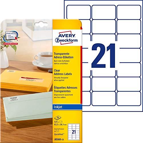 AVERY Zweckform J8560-25 Adressetiketten/Adressaufkleber (525 Etiketten, 63,5x38,1mm auf A4, bedruckbar, selbstklebend, für DIN B6/C6 Briefkuverts, Polyesterfolie, Inkjet-Drucker) 25Blatt, transparent