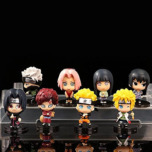 YDDM Naruto 8pcs Anime Figures Uzumaki Naruto Uchiha Sasuke Gaara Model Statue Anime Toys PVC Doll Collection Doll Gift for Children and Anime Fans