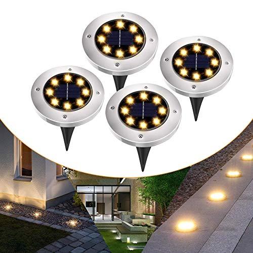4 Pezzi Luce Sepolta Solare, 8 LED Lampade da Giardino Solari, IP67 Impermeabili, 600mAh Batteria Integrata,100LM Paesaggio Illuminazione Lampada (Bianco Caldo)