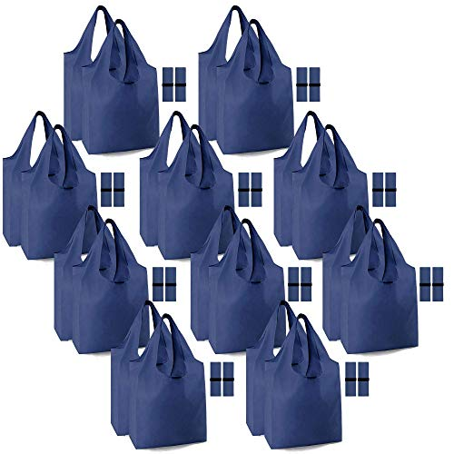 Heavy Duty Lightweight Shopping Bags 20 Pack Reusable Grocery Bags 50 LBS Extra-Large Machine Washable w Elastic Band Grocery Tote Bag Bulk Durable Eco-Friendly Polyester Navy