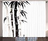 ABAKUHAUS Bambú Cortinas, Modelo de bambú, Sala de Estar Dormitorio Cortinas Ventana Set de Dos Paños, 280 x 175 cm, Crema Negro