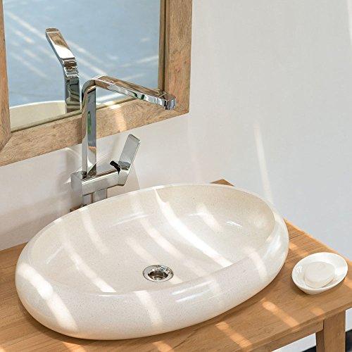 wohnfreuden Terrazzo Aufsatz-Waschbecken 60x40x12 cm ✓ Creme oval Bad Gäste WC ✓ Handwaschbecken Waschschale Aufsatzwaschbecken