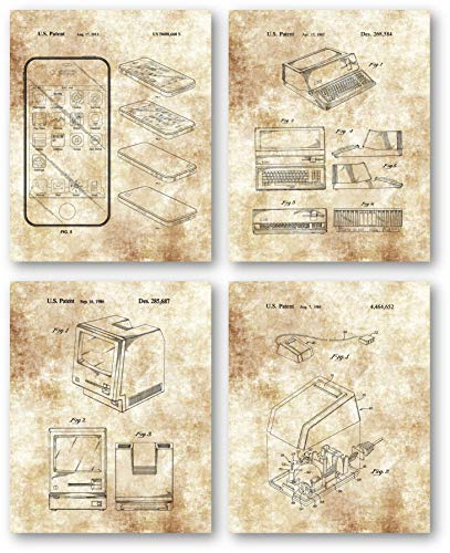 Original Steve Jobs Computer Drawings Artwork - Set of 4 8 x 10 Unframed Patent Prints - Great Gift for Computer Geeks,Techies, IT Professionals - Home Office Wall Decor