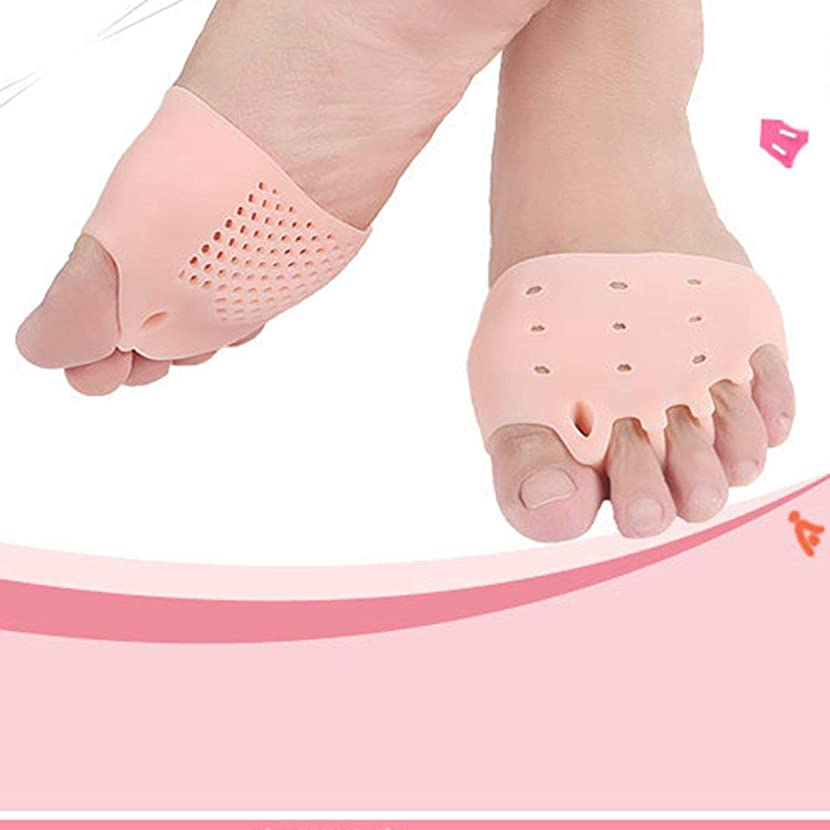 多様な西終わりSEBS Silicone Toe Separator Honeycomb Forefoot Cushion Pad with 5 Loops Thumb Valgus Corretcor Toe Bracer Foot Care Tool