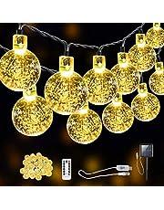 SITRI lichtsnoer / lichtsnoer op zonne-energie / buitenlicht op zonne-energie / sprookjeslicht, zonne- / USB-stekkeradapter, geschikt voor tuinen, binnenplaatsen, huizen, kerstbomen, feesten, 7,5 m 50 lampen.