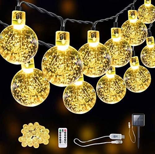 SITRI Solar Lichterkette Außen / Lichterkette Glühbirnen / LED Lichterkette Außen, Solar / USB-Steckernetzteil, geeignet für Garten, Innenhof, Haus, Weihnachtsbaum, Party, 7,5 m 50 Licht.