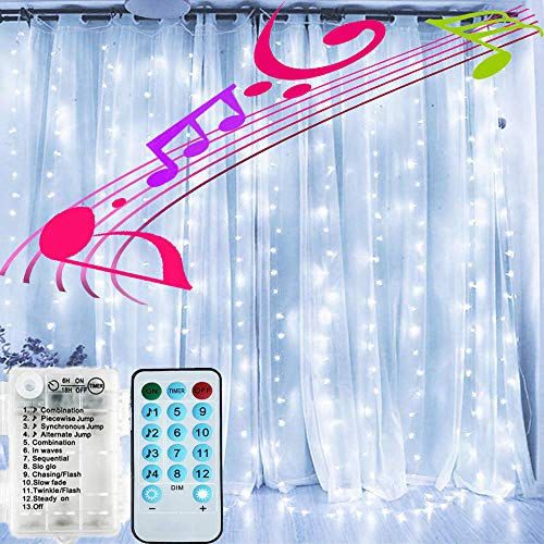 FANSIR LED Curtain Lights, 4 Music & 8 Lighting Modes Battery Operated Window Fairy Lights with Remote Timer 200 LED Waterproof Copper String Lights for Wedding Party Garden Bedroom Decor(Cool White)