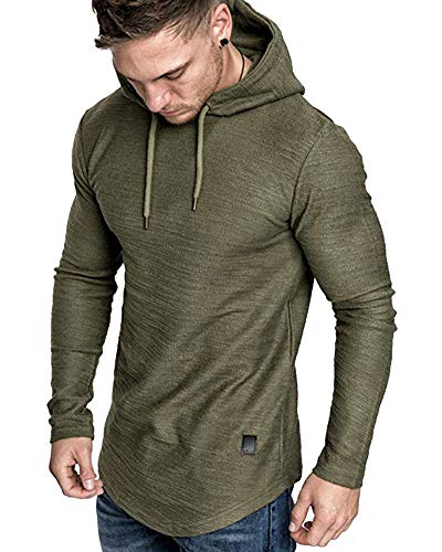 lexiart Mens Fashion Athletic Hoodies Sport Sweatshirt Solid Color Fleece Pullover Green M