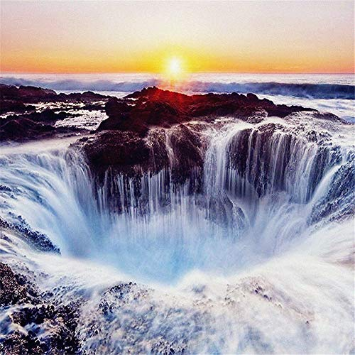 DIY 5D Diamond Painting Set Scenic Waterfall,Adults Full Drill Crystal Rhinestone Embroidery Cross Stitch by Number Kits Mosaic Canvas Arts for Home Wall Decor D8284 Square Drill,40x40cm (15.8x15.8in)
