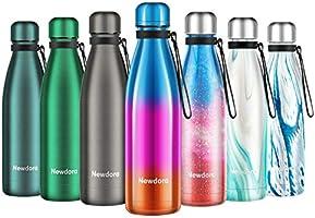 Newdora Botella de Agua Acero Inoxidable 500ml, Aislamiento de Vacío de Doble Pared, Botellas de Frío/Caliente, con 1 un...