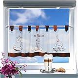 Kamaca Zauberhafte Bistrogardine Coffee Time weißes Voile 40 x 120 Scheibengardine Küche - 3