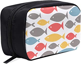 Big Fish Eat Small Fish Portable Travel Makeup Cosmetic Bags Organizer Multifunction Case Small Toiletry Bags For Women And Men Brushes Case