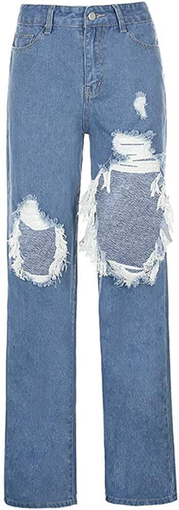 ICNGLKSND Max 85% OFF Womens High Waist Close-Fitting Ripped Genuine St Street Jeans