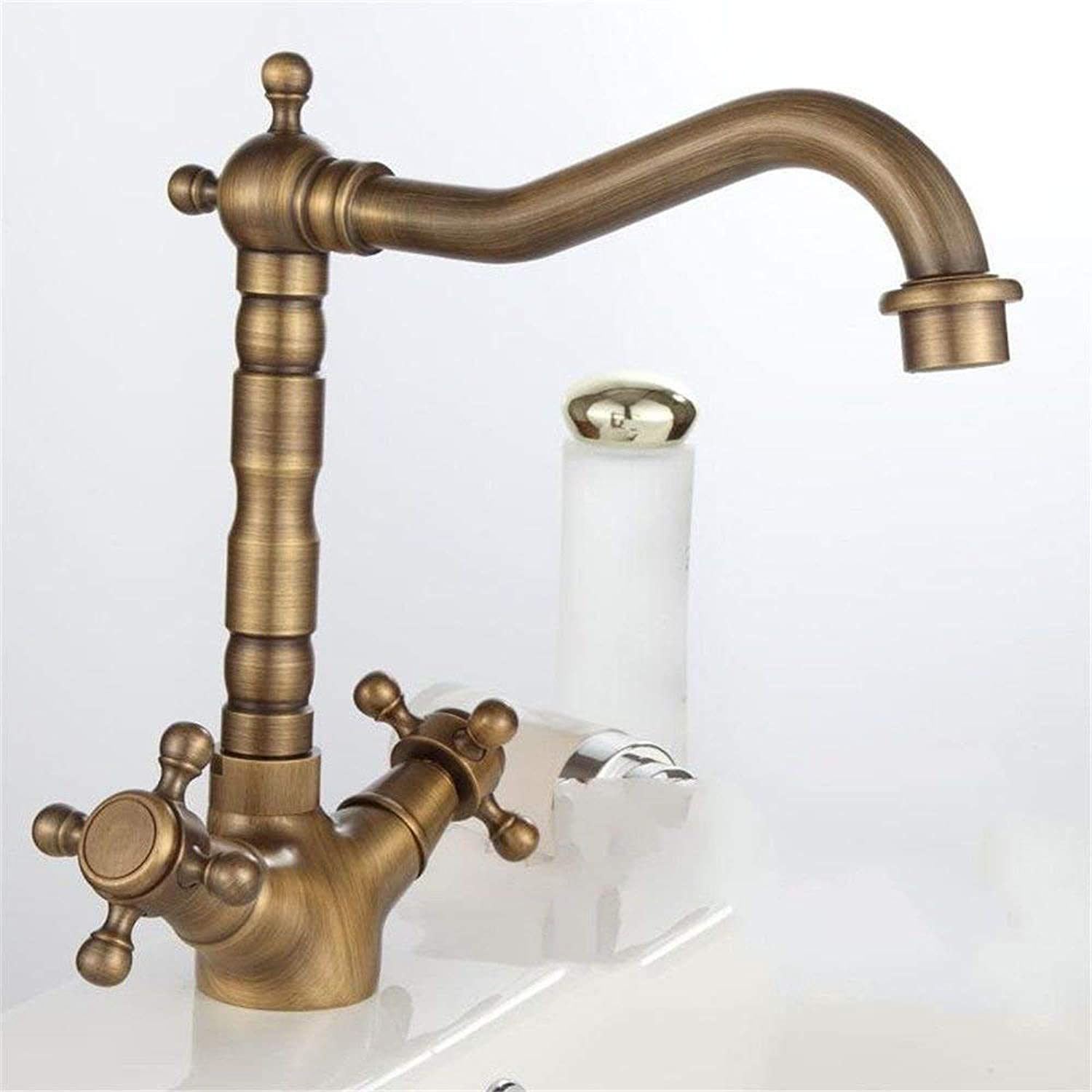 FERZA home Sink Mixer Tap Bathroom Kitchen Basin Tap Leakproof Save Water Retro Copper Cold Water Single Hole Sink