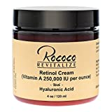 Retinol Cream (Vitamin A 250,000 IU per ounce) with Hyaluronic Acid - 4oz