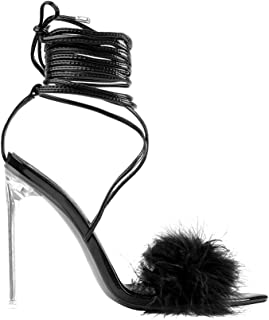 Women's Fluffy Ankle Strap Up Strappy Gladiator Clear Stiletto High Heels