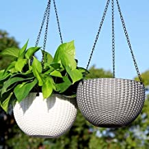 Livzing Flower Pot Hanging Basket with Hook Chain for Home Gardener Office Balcony Grower Planter - Pack of 3