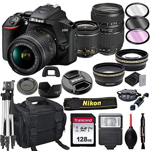 Nikon D3500 DSLR Camera with 18-55mm VR + Tamron 70-300mm + 128GB Card, Tripod, Flash, ALS VARIETY 21pc Bundle