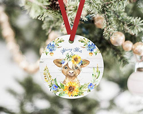 Lplpol Highland Cow Rustic Christmas Ornament Scottish Hairy Cow Personalized Gift for an Animal Lover Cute Farm Animal Holiday Tree Decoration