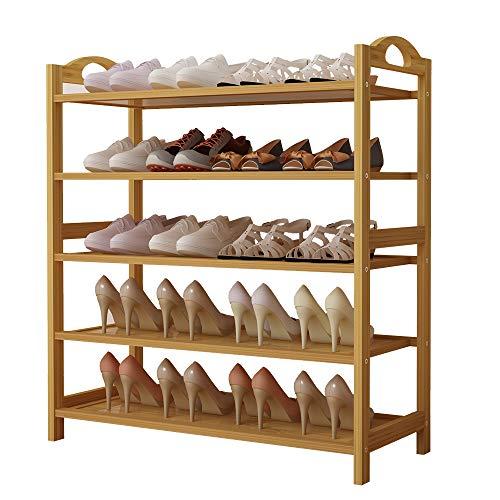 UDEAR Schuhregal, Bambus Schuhbank, Schuhschrank, Bambusregal mit 5 Ablagen, Ideal für Flur, Wohnzimmer, Diele, Küche
