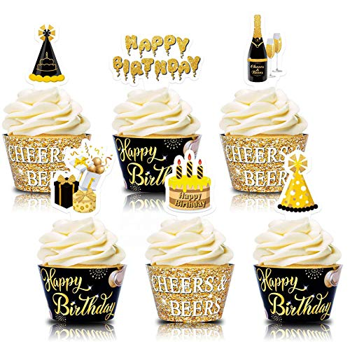 Happy Birthday Cupcake Wrappers Beer Cupcake Toppers Cheers & Beers theme for Men Women