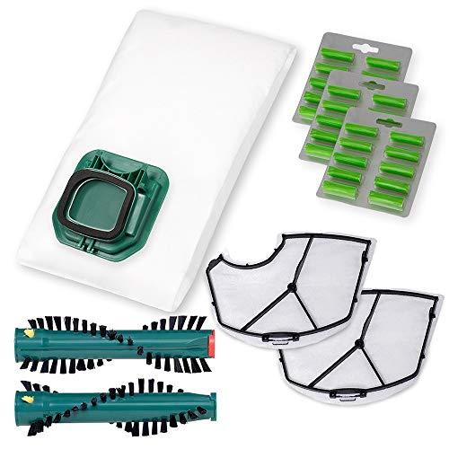 PREMIUM SPARSET - 30 Staubsaugerbeutel Vlies mit Ersatzbürsten und Motorschutzfilter passend für Vorwerk Kobold VK140 / 150 mit Elektrobürste EB 360/370 - Bestleistung beim Saugen