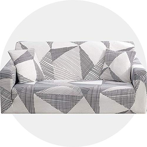 Carvapet Sofaüberwurf 3 Sitzer Sofabezug Couch Überzug Stretch, Weißer Streifen