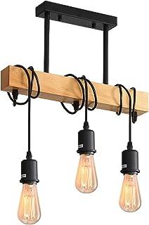 Comely Suspension Luminaire Vintage, Plafonnier Industriel, Réglable Lustre en Bois pour Salle à Manger, Salon, 3 Lumières...