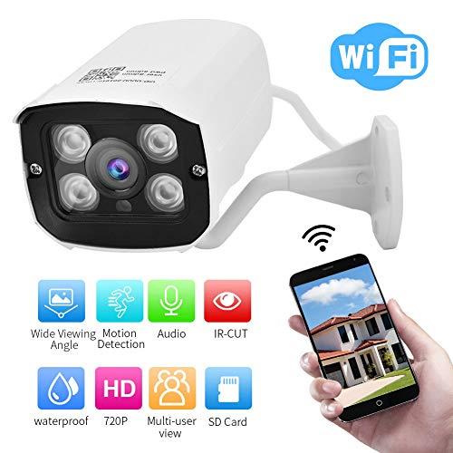 Buiten bewakingscamera 720P HD draadloze bewakingscamera, waterdichte WIFI Home Security IP-camera, ondersteuning voor spraakintercom / bewegingsdetectie alarmfunctie (EU-stekker)