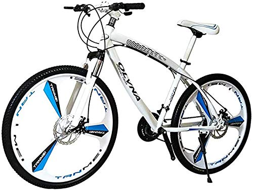 Yaad High-Carbon Steel Hard-Tail Mountain Bike, 26-Inch Rim Off-Road Bike, 27-Speed Bicycle, Full Suspension MTB Gear, Double Disc Brake, Mountain 3 Cutter Wheels,White
