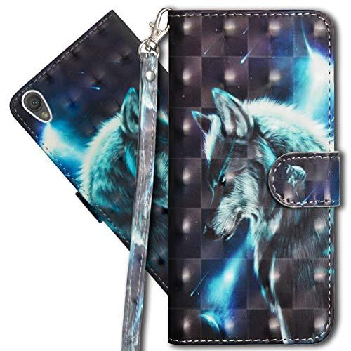 MRSTER Sony Xperia L1 Handytasche, Leder Schutzhülle Brieftasche Hülle Flip Hülle 3D Muster Cover mit Kartenfach Magnet Tasche Handyhüllen für Sony Xperia L1. YX 3D - Wolf