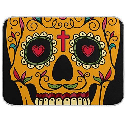 Estera para secar platos, encimeras de cocina de microfibra, protector de almohadilla seca, 16 x 18 pulgadas, calavera de azúcar floral mexicana de Halloween
