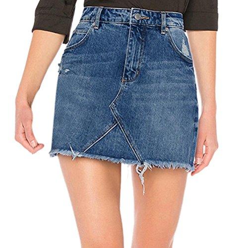 Shorts,SUCES Damen Vintage Blue Ausgefranste lose lockere Baggy Shorts Boyfriend Stretch Denim Jeans Hotpants Frauen Weinlese Hohe Taille Jeans Loch Kurz Jeans Denim Shorts (XL, Blue)