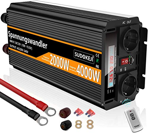 SUDOKEJI Spannungswandler 12v 230v Modifizierter Sinus 2000W Wechselrichter,mit Flüssigkristallanzeige,Drahtloser Fernbedienung,2 AC-steckdosen und USB Geeignet für Laptops Und andere kleine Geräte
