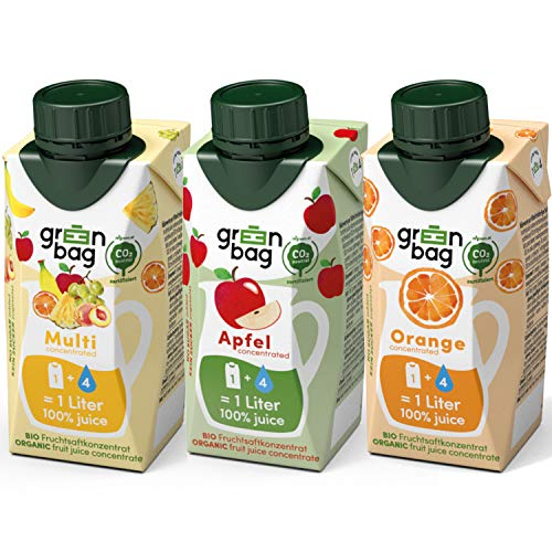 Green-Bag Bio Fruchtsaft Konzentrat: Apfel Orange Multivitamin Mix 3x 200ml Fruchtsaftkonzentrat = 3l Apfelsaft Orangensaft Multifruchtsaft | 100% natürlich Multifrucht Saftkonzentrat Saft Getränk