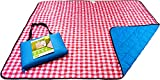 Roebury Beach Blanket Sand Proof & Outdoor Picnic Blanket - Water Resistant, Large Mat for Camping or Travel. Washable, Foldable, Easy Carry Compact Tote Bag (Checkered Red/White)