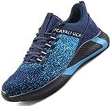 Ucayali Zapatos de Seguridad Hombre Calzado Trabajo Comodos Ligeras Zapatillas para Trabajar con Punta de Acero Transpirables Antiestaticos Cocina(017 Azul, 42 EU)