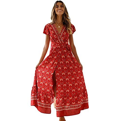 Robes Femme 2021 Mode Robe Ete, Robe Longue Fleurie Boheme Chic Femme Jupe Longue Dress Robe De Plage Grande Taille Robe Vintage Robe Tendance élégante Robe Imprimée Ample Casual