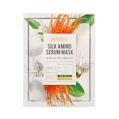 Petitfée - Silk Amino Serum Mask - 10 x hochkonzentrierte Serummaske / Gesichtsmasken / Serum Maske mit Aminosäuren und natürliches Protein gegen Falten / Anti Aging und trockene Haut - Lifting Masken